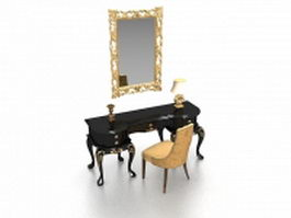 Vintage vanity table set with mirror 3d preview