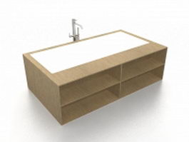 Bathtub with storage surround 3d preview