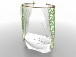 Bathtub with shower curtain 3d preview