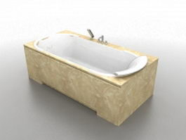 Soaking bathtub with marble surround 3d preview