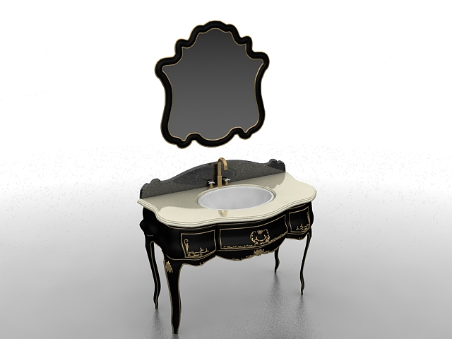 Antique black bathroom vanity 3d model 3ds max files free ...
