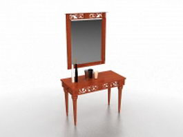 Vintage vanity desk with mirror 3d preview