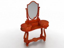 Vintage vanity dressing table with mirror 3d model preview
