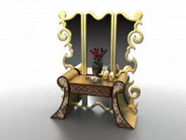 Antique French dressing table vanity 3d preview