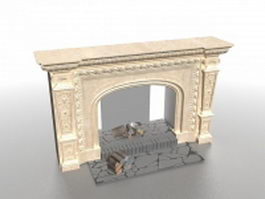 Cast stone fireplace 3d model preview