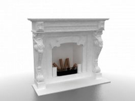 White fireplace 3d model preview