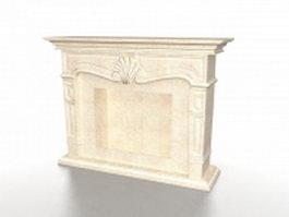 Limestone fireplace 3d model preview