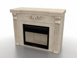 Sandstone fireplace 3d model preview