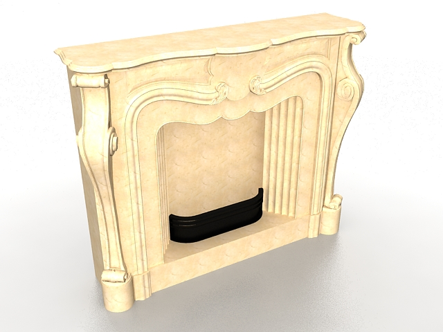 Marble fireplace 3d rendering