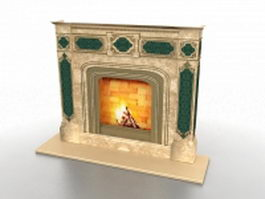 Electric fireplace 3d model preview