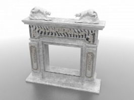 Old stone fireplace 3d model preview