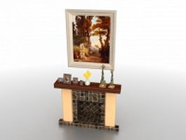 Fireplace with mantel decorating 3d preview