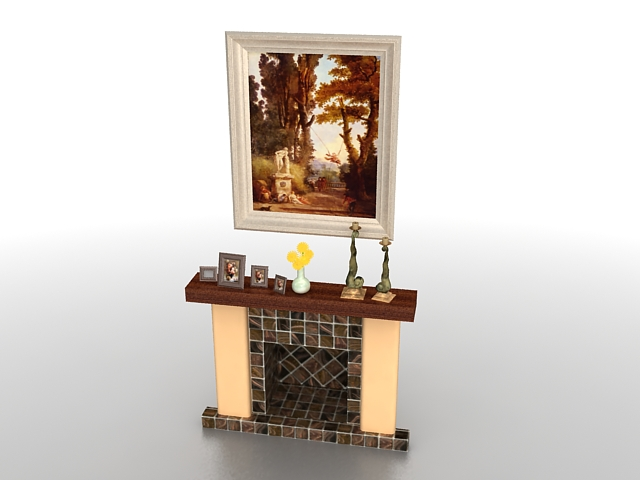 Fireplace with mantel decorating 3d rendering