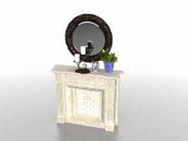 Fireplace with mirror 3d model preview