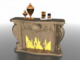Fireplace mantel decorations 3d model preview