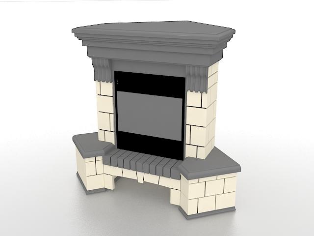 Brick fireplace 3d rendering