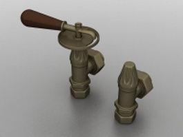 Home radiator valves 3d model preview