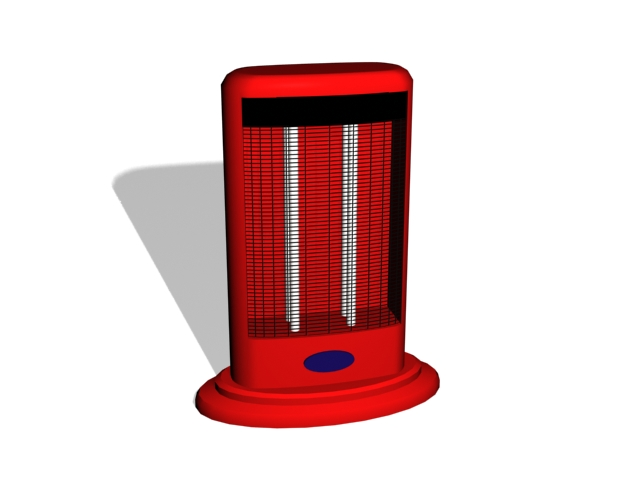 Red electric heater 3d rendering