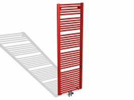 Painted red radiator 3d model preview