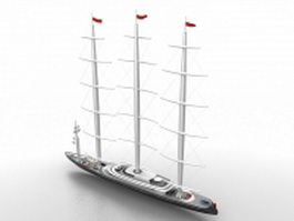 Great sailing ship 3d model preview