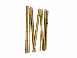 Bamboo poles 3d model preview