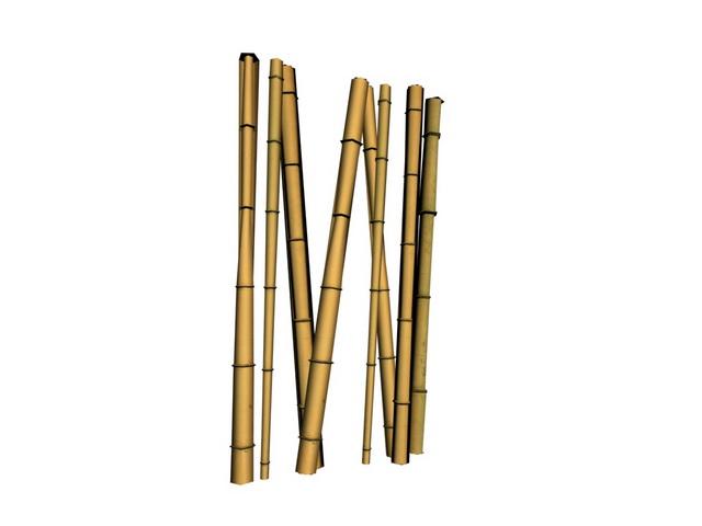 Bamboo poles 3d rendering