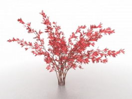 Red leaf trees 3d model preview