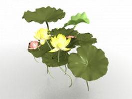 Lotus flower leaves 3d model preview