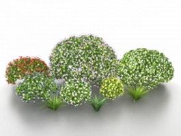 Landscape shrubs and bushes 3d preview