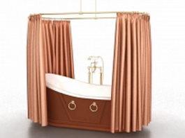 Vintage bathtub shower curtain 3d preview