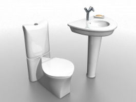 Toilet and pedestal basin 3d preview
