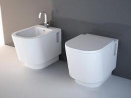 Bidet toilet sink combination 3d preview
