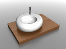 Counter top basin 3d model preview