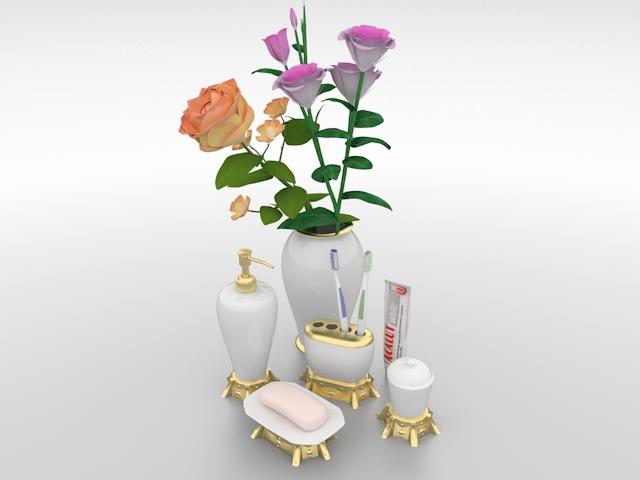 Bathroom sets and vase 3d rendering