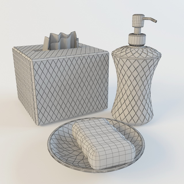 Bathroom soap dish and accessories 3d rendering