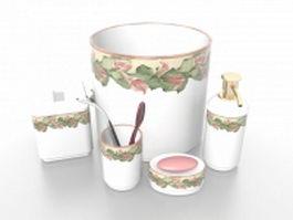 White porcelain bathroom accessories sets 3d model preview