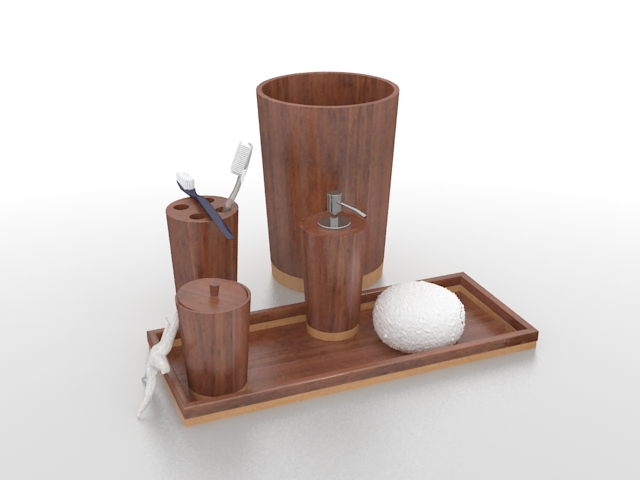 Wooden bathroom accessory sets 3d rendering