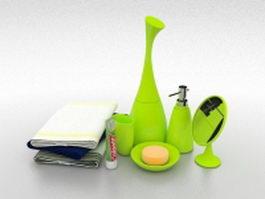 Green bathroom accessory sets 3d preview
