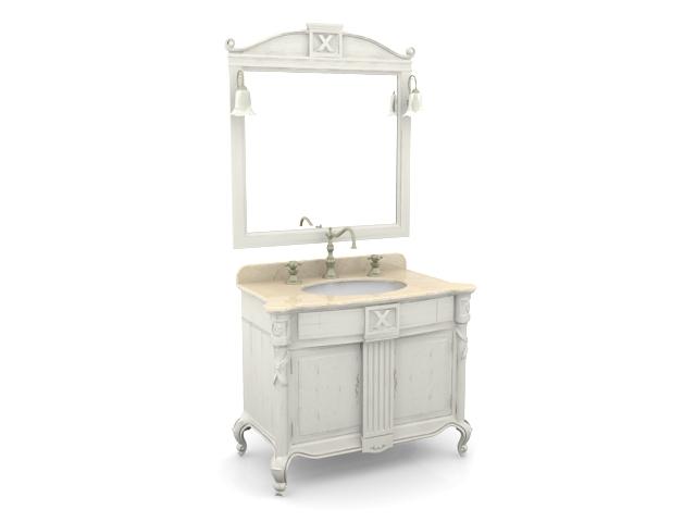 Antique white bathroom vanity 3d model 3ds max files free ...