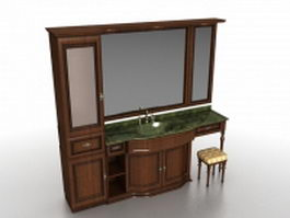 Bathroom vanity with wall tower 3d model preview