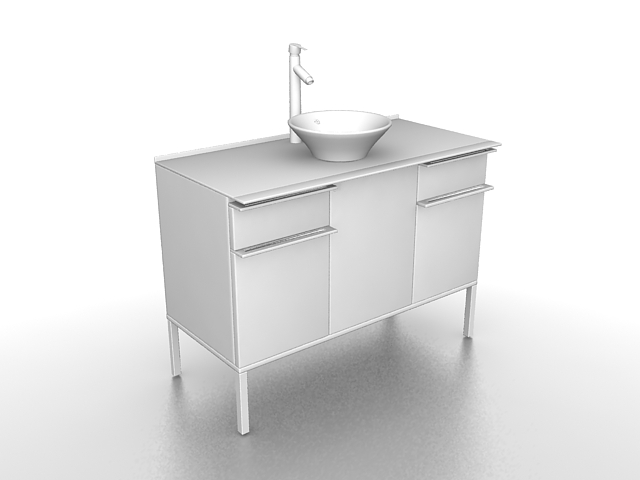 Wash basin with cabinet 3d rendering
