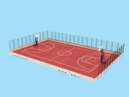 Basketball court 3d model preview