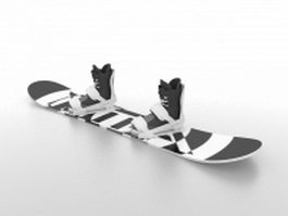 Snowboard with bindings 3d preview