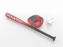Baseball bat and glove set 3d preview