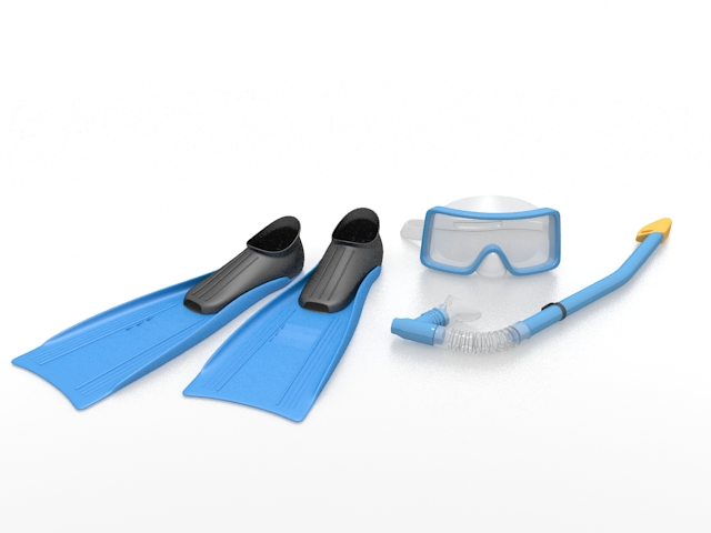 Mask fin snorkel set 3d rendering