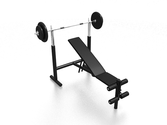 Weight bench with weights included 3d rendering