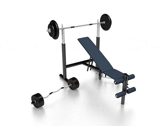 Weight bench and barbell set 3d rendering