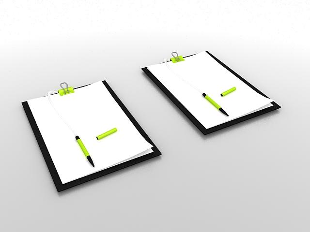 Memo pad with pen 3d rendering