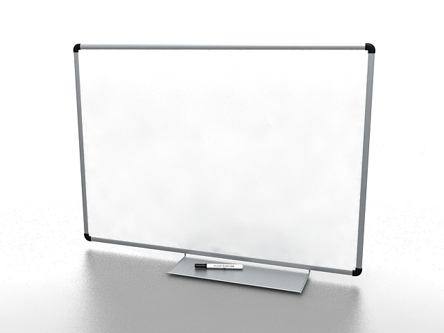 Whiteboard with pen holder 3d rendering