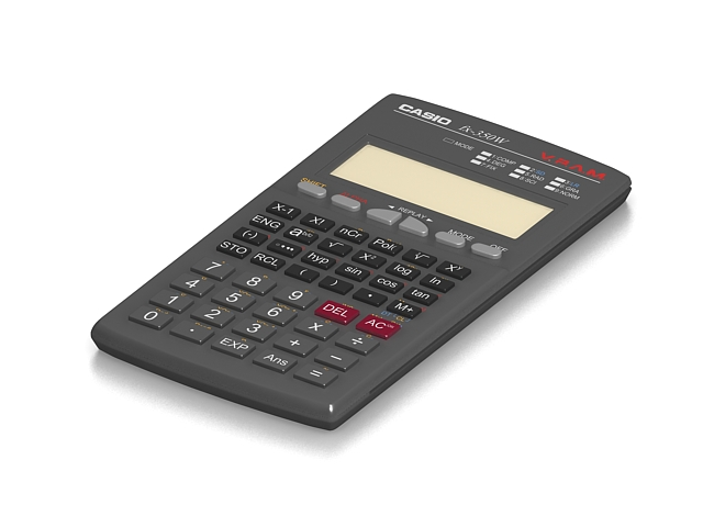 Casio calculator 3d rendering